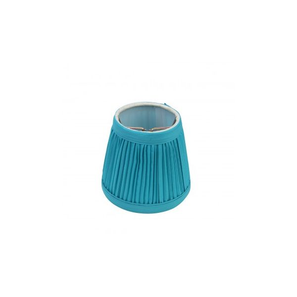 "Lamp Shade Blue Fabric 4 1/16"" Mini Clip On"