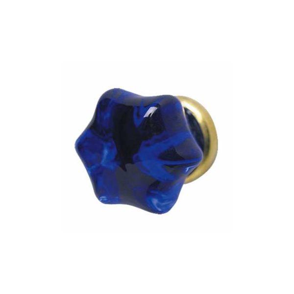 """Cabinet Knob Blue Glass 1"""" Dia W/ Brass Shank"""