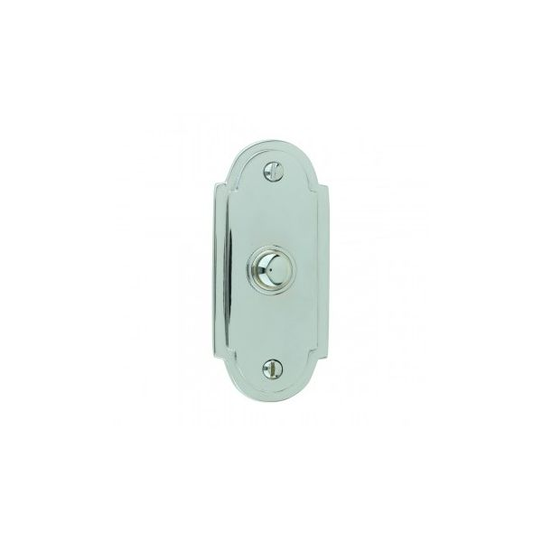 """Colonial Door Bell Chrome Push Button Plate 4"""" H"""