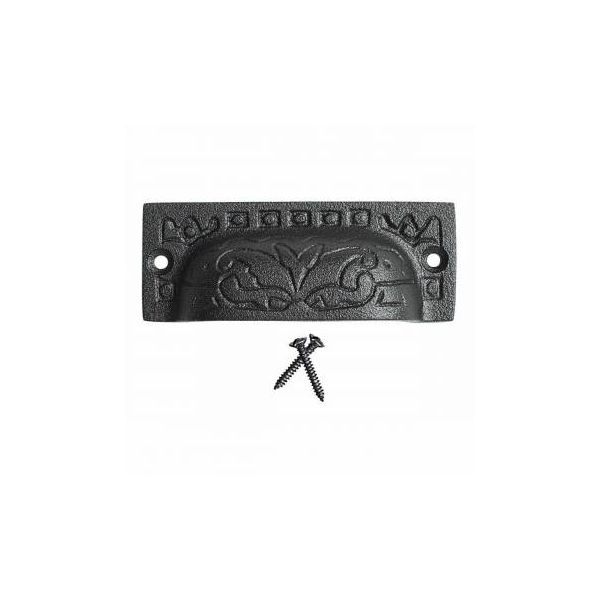 Renovators Supply Black Wrought Iron Drawer or Cabinet Bin Cup Pull 3 1/2 Inch Old Colonial Design Kitchen Hardware Powder Coat Finish Drawer Handle Includes Mounting Screws