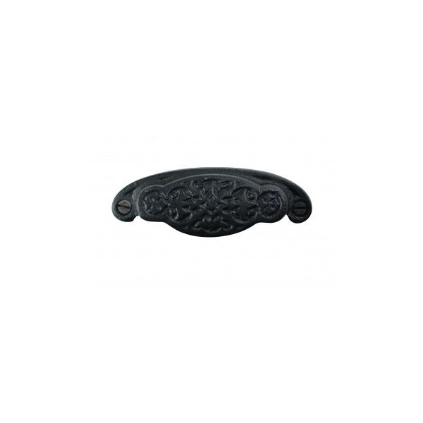 """Cabinet or Drawer Bin Pull Black Iron Cup 3 3/4"""" x 1 3/8"""" H"""