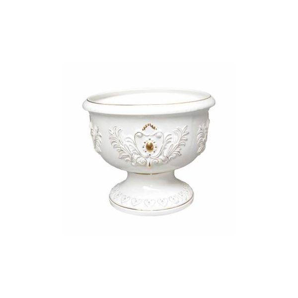 "Planters White/Gold Ceramic Vase 19""H"