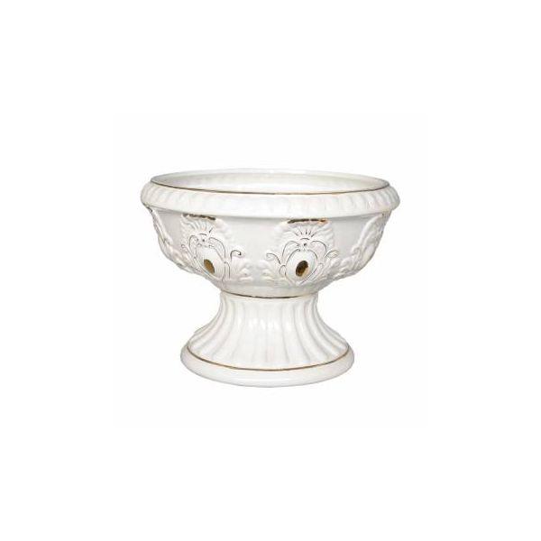 """Elegant Ornate White and Gold Ceramic Planter Vase 10"""" Height 14"""" Diameter"""