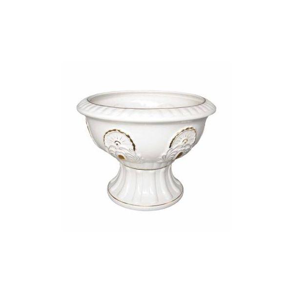 """Ornate Elegance White and Gold Ceramic Planter Vase 18"""" Height 24"""" Diameter"""