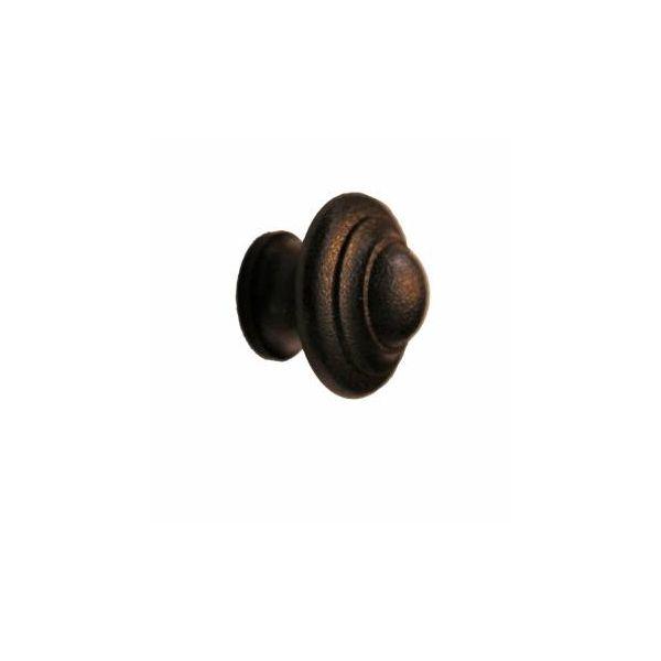 "Wrought Iron Cabinet Knob Black Round 1-1/8"" Dia."