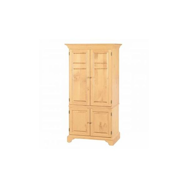 Natural Solid Pine Computer Armoire Cabinet Easy Assembly Armoire Desk