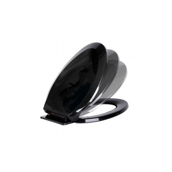 No Slam Slow Close Plastic Elongated Toilet Seat in Black Renovators Supply