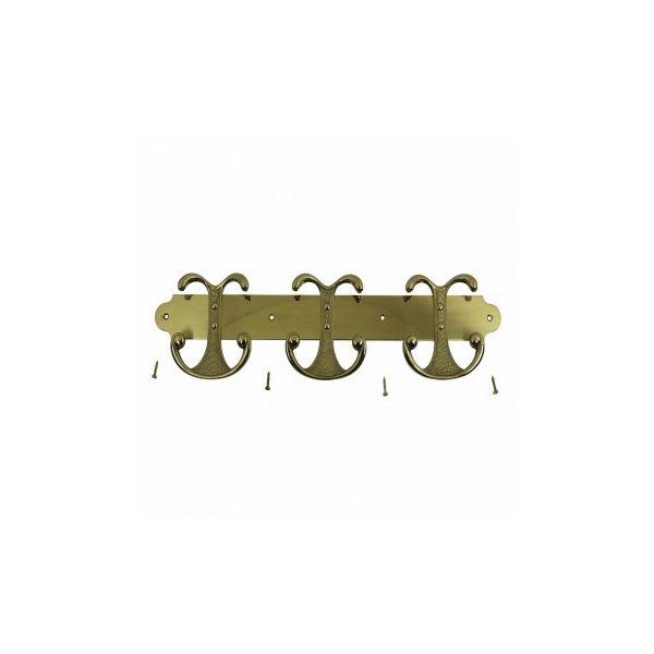 Brass Coat Hook 3 double Hook Plate