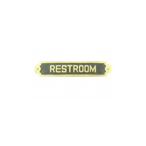 """Solid Brass Sign """"Restroom"""" 2 1/8 H x 10 3/4 W"""