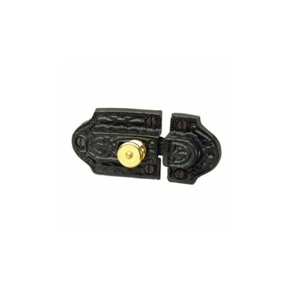 Ornate Cast Iron Slide Cabinet Latch Brass Knob
