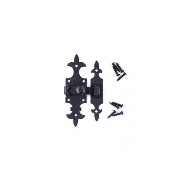 Renovators Supply Cabinet Door Slide Latch Black Wrought Iron Cabinet Hardware French Quarter Design Slide Bolt Lock 5 1/2 Inch