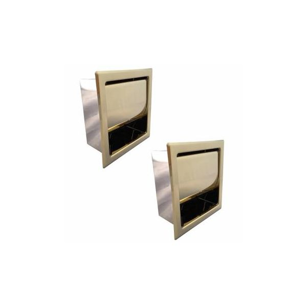 Recessed Toilet Paper Tissue Holder Gold Stainless Steel Pack of 2