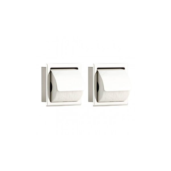 2 Recessed Stainless Steel Toilet Tissue Holder With Lid