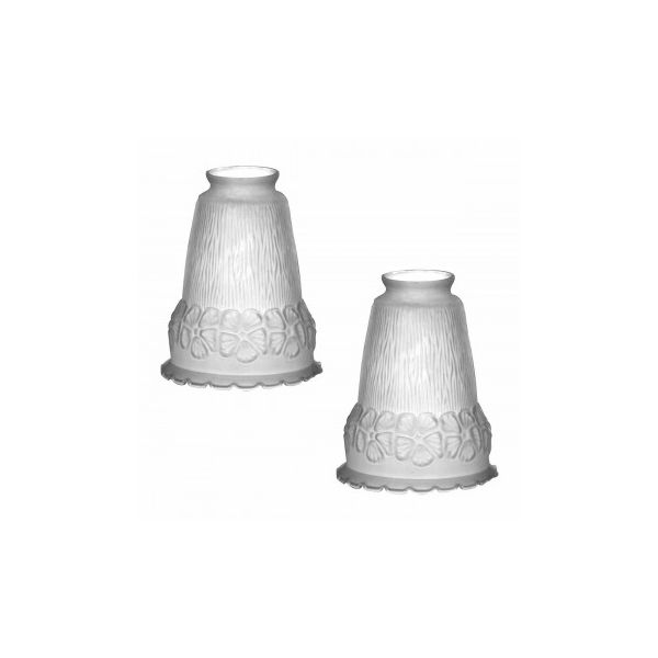 """2 Lamp Shade Frosted Glass Flowers Bell 5 1/2"""" H 2 1/4"""" Fitter"""