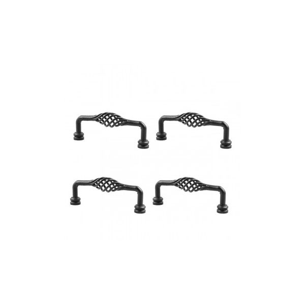 """6"""" Black Wrought Iron Drawer Handle Cabinet Pull Birdcage Design Pack of 4"""