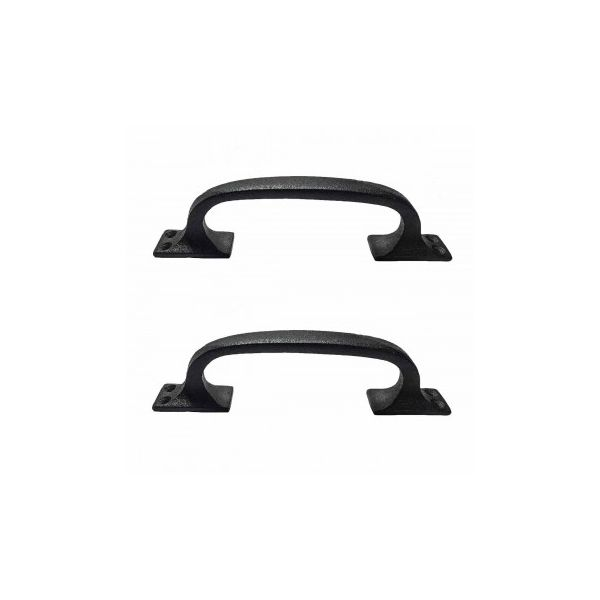 Black Wrought Iron Pull for Drawer or Door 6 in. Set of 2