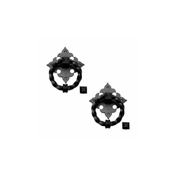 Black Door Knocker Cast Iron Rustproof Finish 7 in H x 5.5 in W  Pack of 2