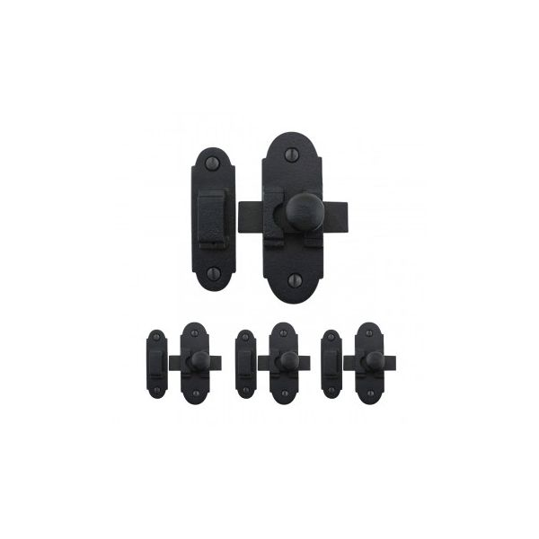 Black RSF Iron Slide Style Cabinet Latch 3 1/4 Inch x 1 1/4 Inch Set Of 4