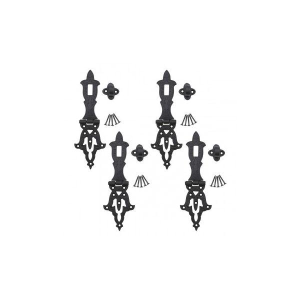 4 Decorative Hasp Black Wrought Iron 2 3/4'' H x 8 1/4'' W