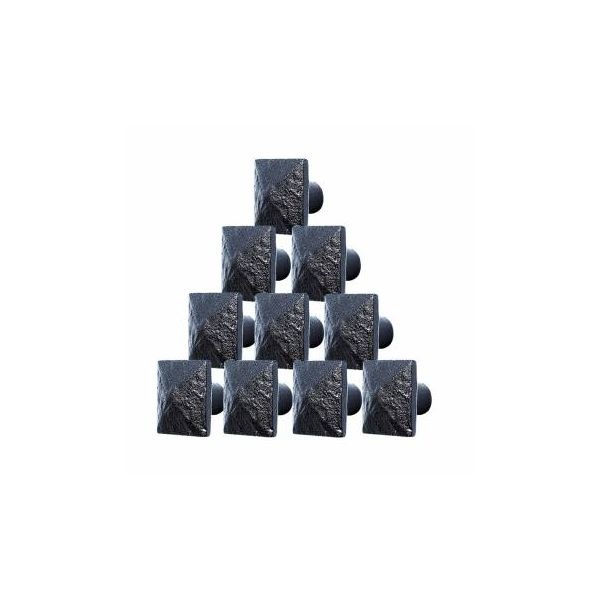 "10 Cabinet Knobs Square Black Iron 1 1/4"" D"