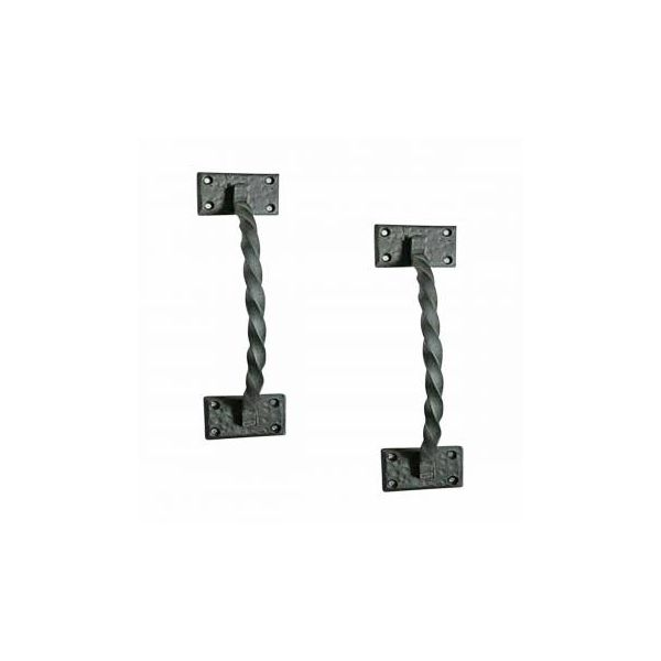 "Wrought Iron Door Handle Pull Antique Colonial Twist Design 12 1/4"" Length Renovator's Supply Set of 2"