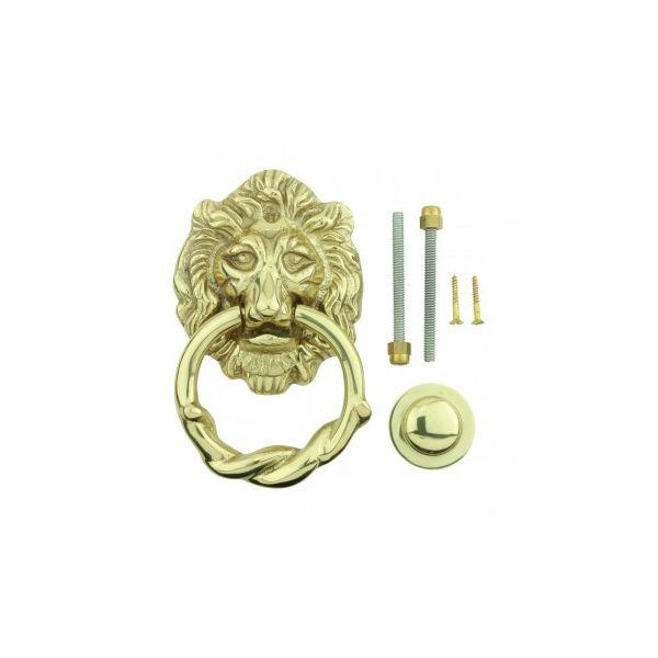 Door Knocker Lion Antique Brass 6 1/4 H x 3 5/8 W