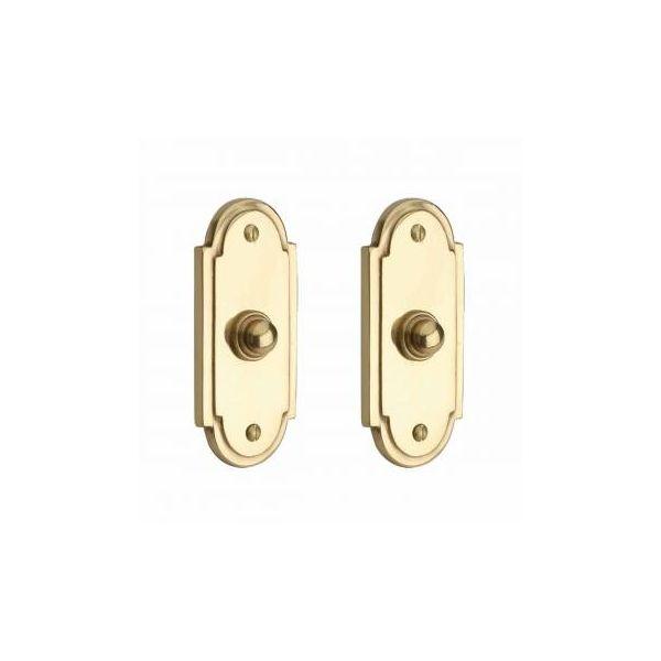 """2 Colonial Brass Push Button Door Bell 4"""" H"""