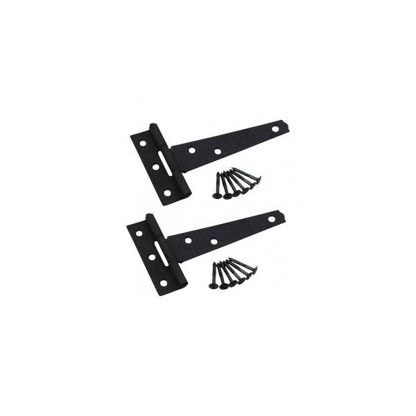 "5"" Tee T Strap Cabinet or Door Hinge Black Iron Hardware Included Set of 2 Renovators Supply"