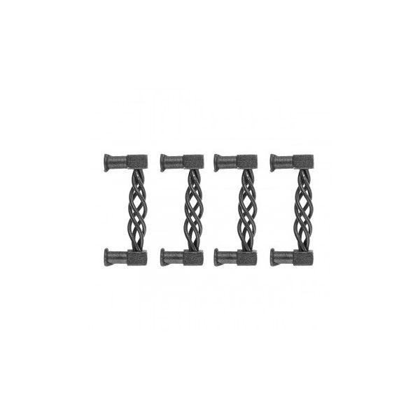 "Black Cabinet Drawer Pulls Wrought Iron Antique Rustic Weaved Design 3 1/2"" Wide, 3 1/8"" Boring Renovator's Supply Set of 4"