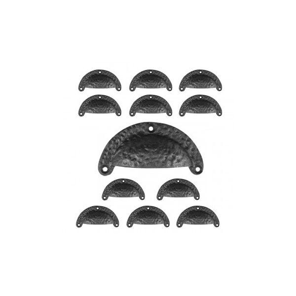 Kitchen Cabinet Drawer Bin Pull Handle Black Cast Iron Cup Pulls 3 1/2 W x 1 3/4 H - Set of 12 - Renovator's Supply