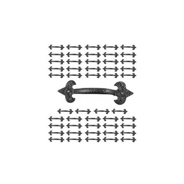 10 Door Pulls Black Wrought Iron Fleur de Lis Set of 10