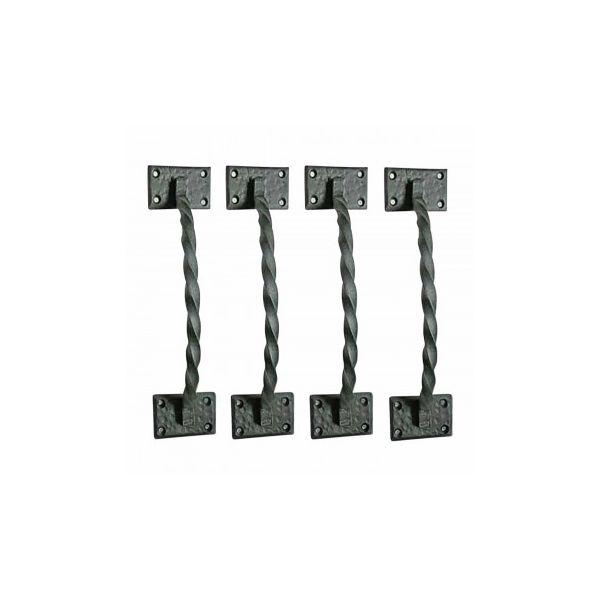 4 Gate Pulls Black Wrought Iron Forged Twist