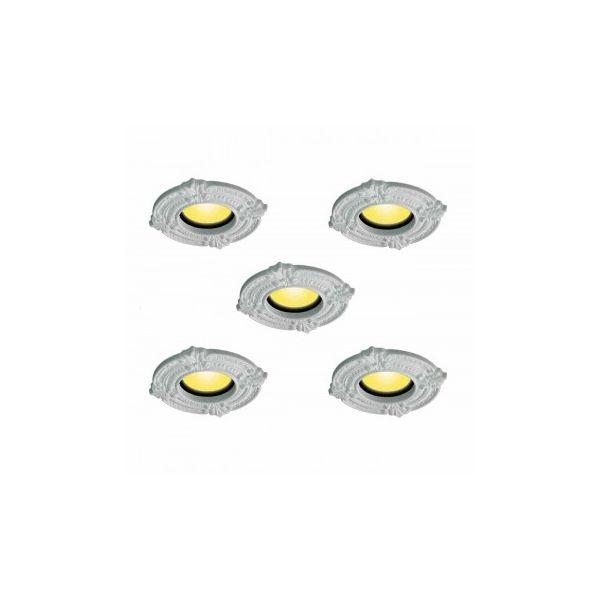 "5 Spot Light Trim Medallions 6"" ID Urethane White Set of 5"