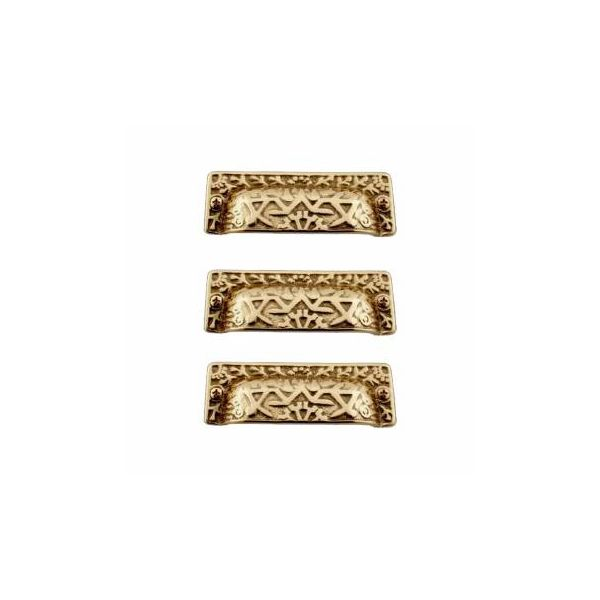 Antique Bin Pull Bright Solid Brass Cup Pack of 3