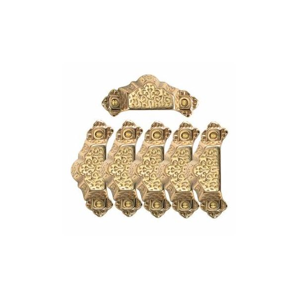 6 Antique Bin Pulls Bright Solid Brass Cup Scalloped |Renovator's Supply