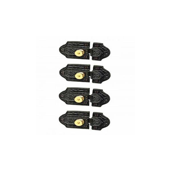 4 Ornate Cast Iron Slide Cabinet Latch Brass Knob