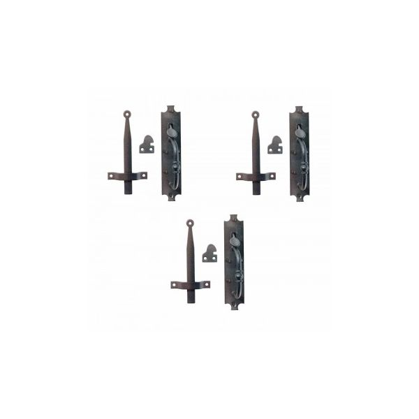"""Renovators Supply Black Cast Iron Norfolk Door Latches Traditional Gate Or Door 8"""" Tall Thumb Latches Black Powder Coat Finish Two Sided Gate Latch Locks with Mounting Hardware Pack of 3"""
