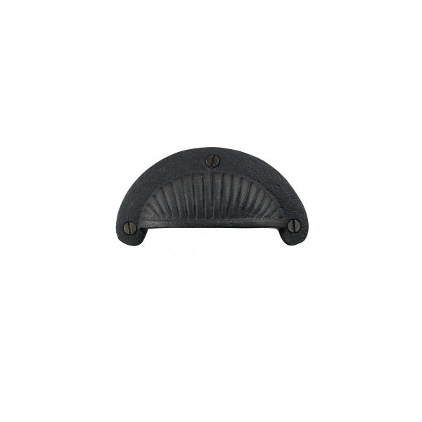 """Black Cast Iron Cup Pulls Kitchen Drawer Bin Pulls Cabinet Hardware Scalloped Colonial Victorian Antique Design 3 7/8 Inch Wide, 3 5/16"""" Boring - Set of 18 - Renovator's Supply"""