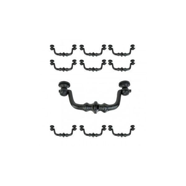 "10 Drawer Pull Black Wrought Iron Bail 4 1/2"""