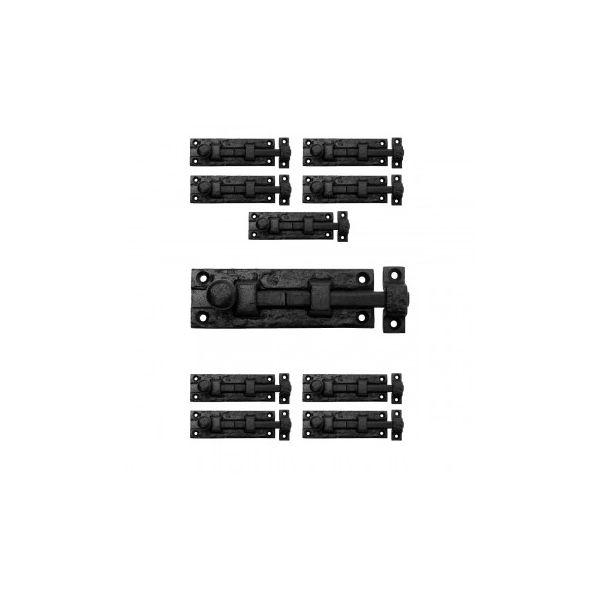 "10 Black Wrought Iron  Cabinet or Door Slide Bolt 4"" W"