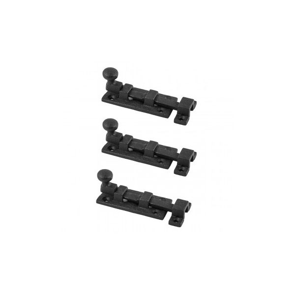 """Renovators Supply Wrought Iron Slide Bolt Lock Catch For Doors Gates Cabinetry - 3"""" Wide - Black Powder Coat Rustic Antique Design and Finish - Set of 3 - Includes Hardware"""