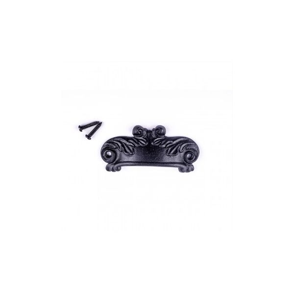 Cabinet or Drawer Bin Pull Black Iron Cup 4 inch W x 1 1/2 inch H Pack of 6