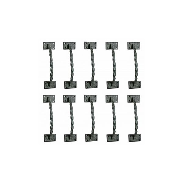 10 Gate Pulls Black Wrought Iron Forged