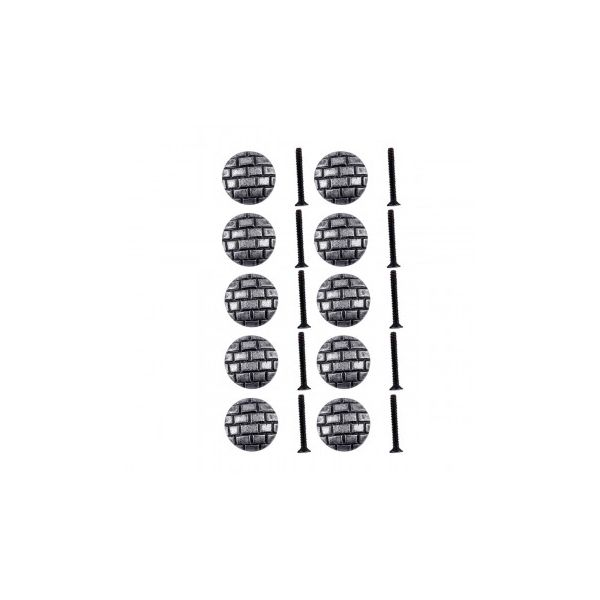 Iron Cabinet Knob Round Pewter Finish Brick Design Cabinet Hardware Pack of 10