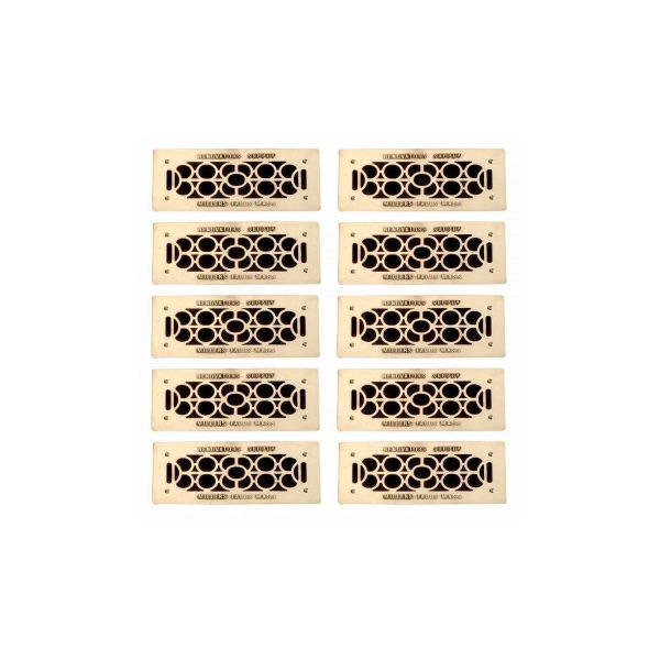 """10 Floor Wall Heat Air Grill Vent Grate Solid Brass 4.75 """"x 11"""" 