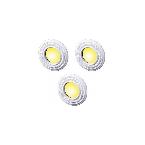 "3 Spot Light Ring White Trim 4"" ID x 8"" OD Mini Medallion 3 Pack"