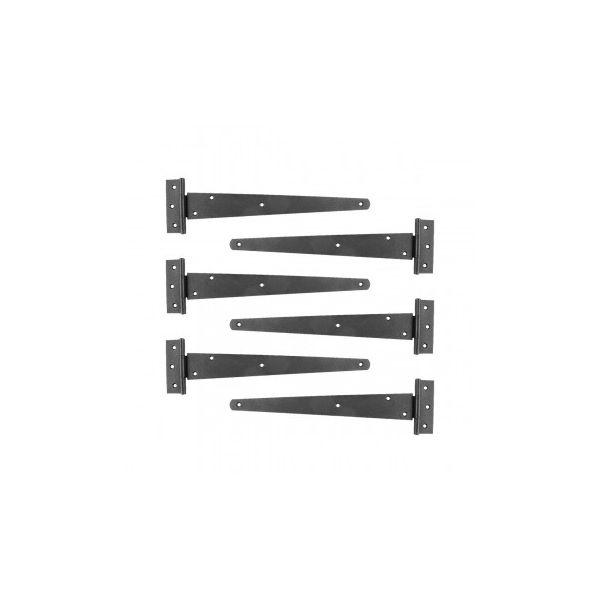 "Tee T-Strap Door Hinge Black Light Duty Stamped Malleable 13"" Length Set of 6 Renovator's Supply"