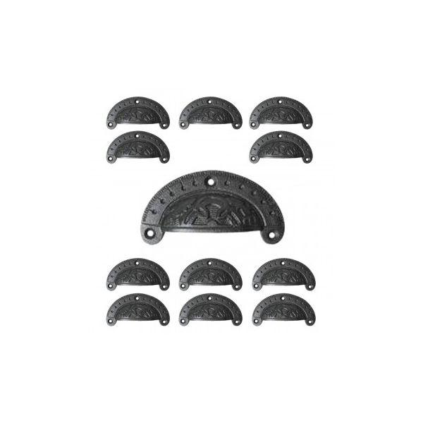 Cast Iron Cabinet Pull Handles Drawer Bin Pulls Black 3 3/4 W x 1 3/4 H - Set of 12 - Renovator's Supply