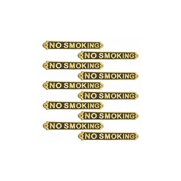 Polished Brass Plaques No Smoking Sign Wall Brass Plate
