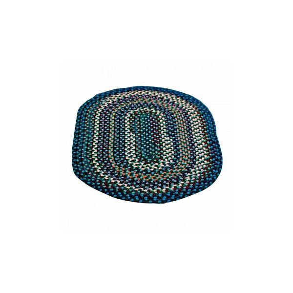 Colonial Style Blue Nylon Oval Area Rug 9' Long x 7' Wide